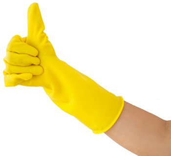 close-up-hand-rubber-glove-showing-thumb-up